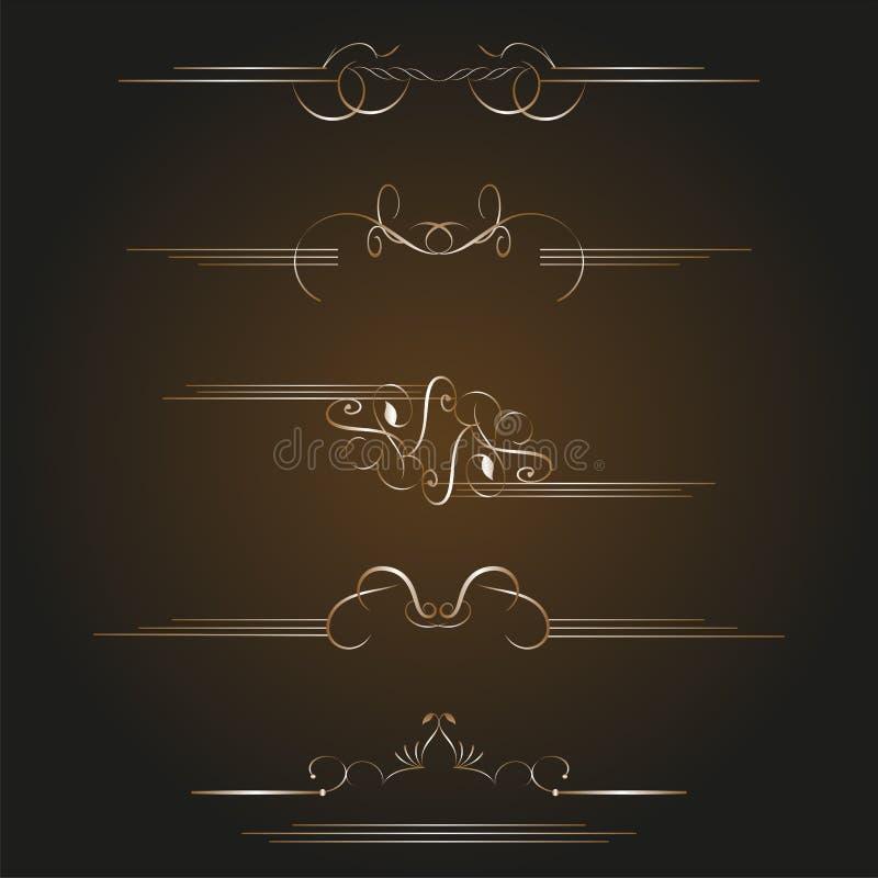 Elementos caligráficos do projeto do ouro ajustado do vetor ilustração stock