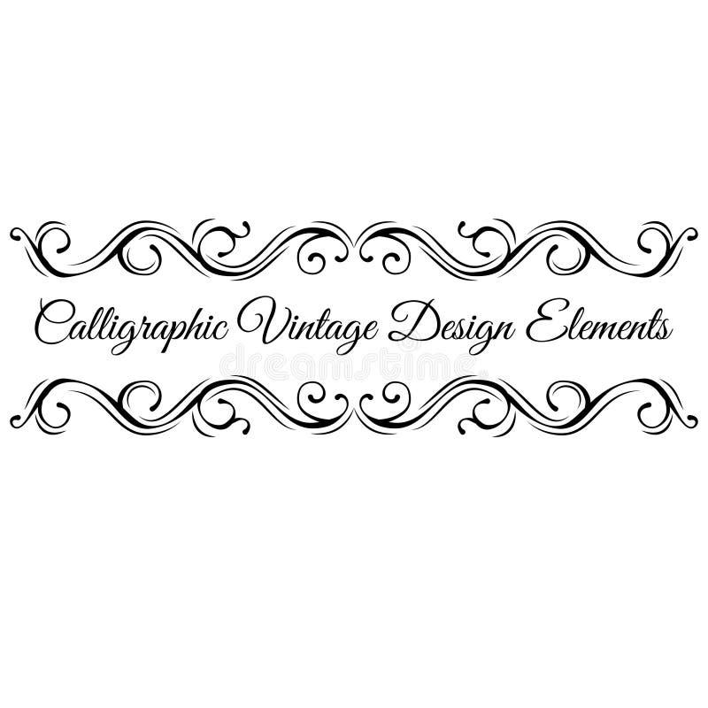 Elementos caligráficos do projeto Pagine a decoração, divisor filigrana ornamentado, quadro do Flourish Vetor ilustração stock