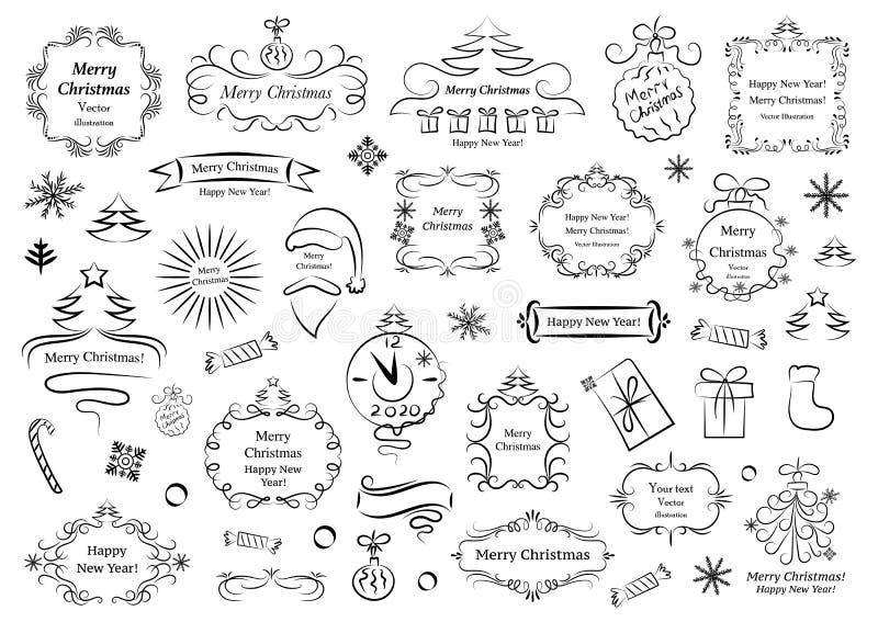 Elementos caligráficos do projeto para o Natal Os redemoinhos decorativos ou os rolos, vintage moldam, flourishes, etiquetas e di ilustração royalty free