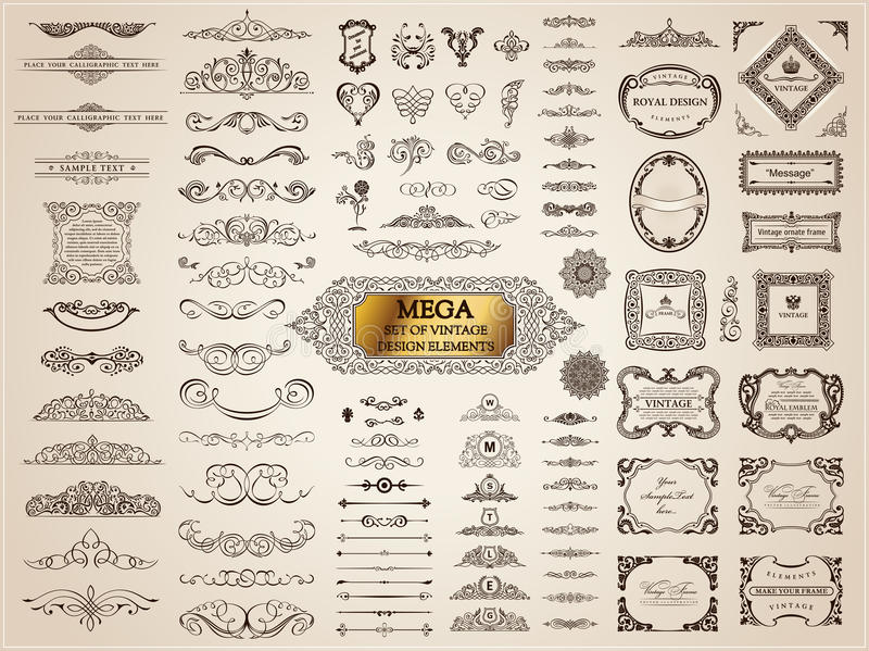 Elementos caligráficos do vintage Grupo barroco do vetor Ícones do projeto ilustração do vetor