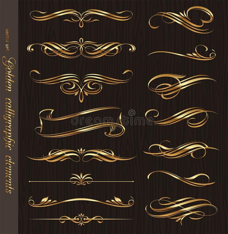 Elementos caligráficos dourados do projeto ilustração do vetor