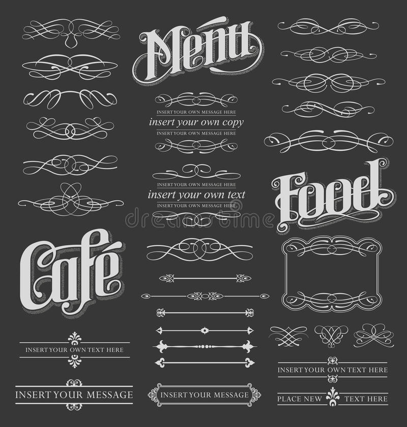 Elementos caligráficos e decorativos do projeto do quadro para menus ilustração stock
