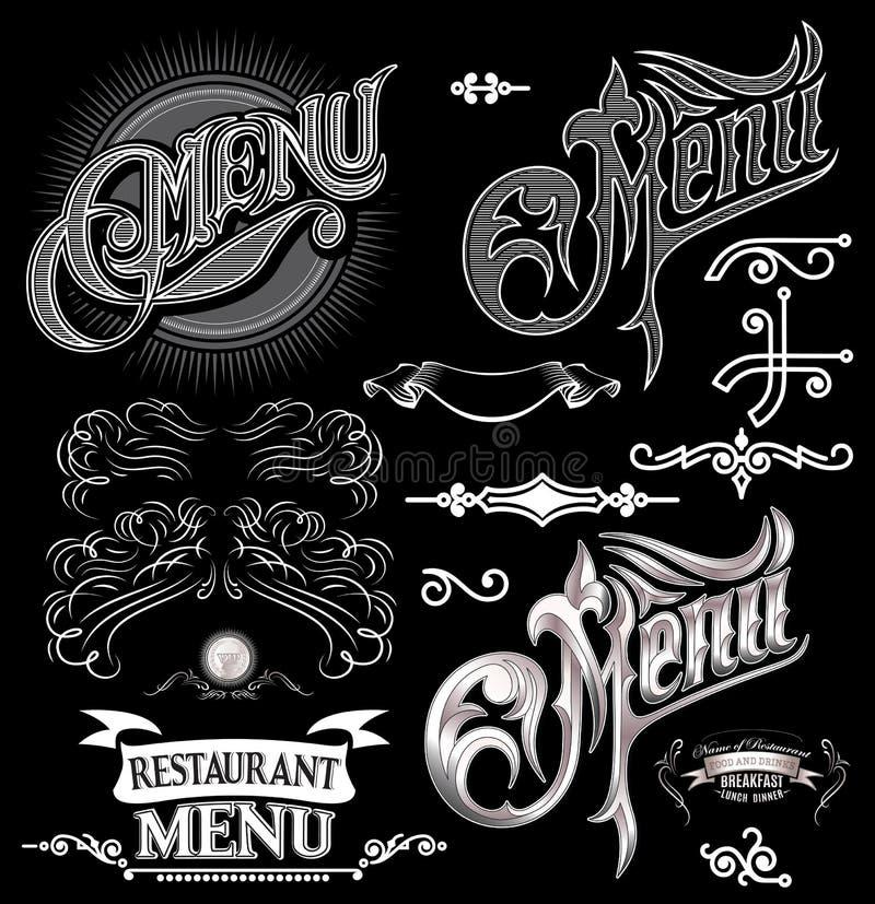 Elementos caligráficos para el menú de la etiqueta del diseño libre illustration