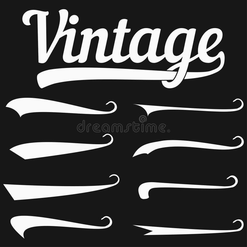 Elementos caligráficos para las inscripciones del diseño - raya, swooshes y silbidos para las fuentes del vintage del diseño Vect ilustración del vector