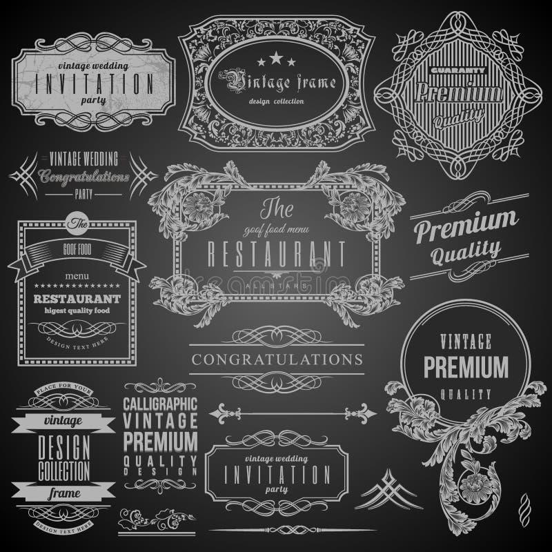 Elementos caligráficos retros del diseño stock de ilustración
