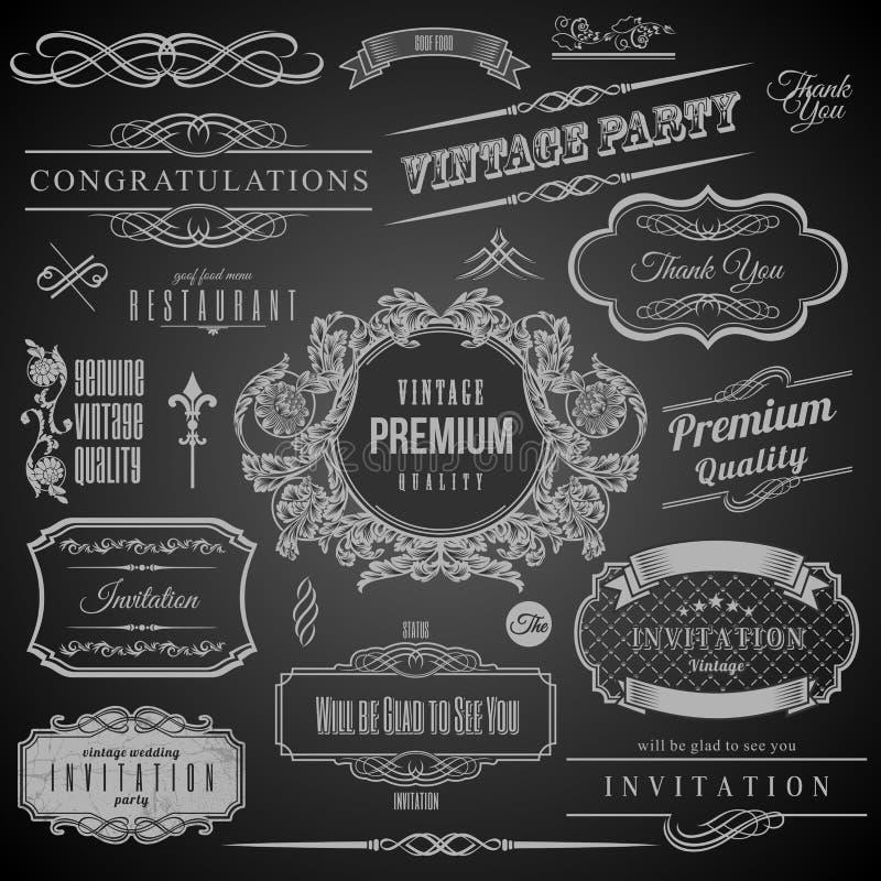 Elementos caligráficos retros del diseño Marco de la invitación Colección de bastidores y de elementos decorativos del vector stock de ilustración
