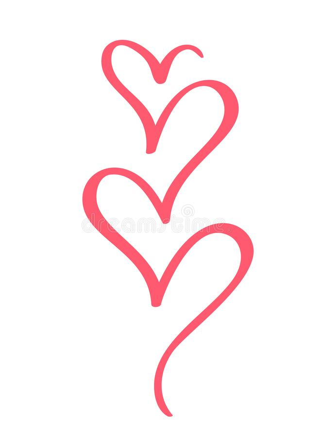 Elementos caligráficos tirados mão do coração do projeto do dia de Valentim do vetor Floresça a decoração clara do estilo para a  ilustração royalty free