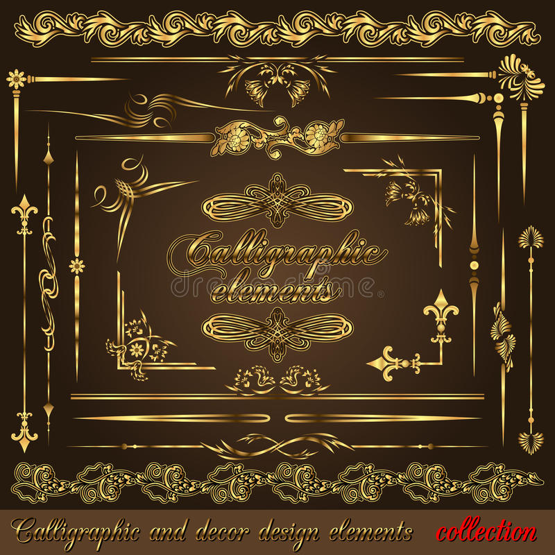 Elementos caligráficos vol2 do projeto do ouro ilustração stock