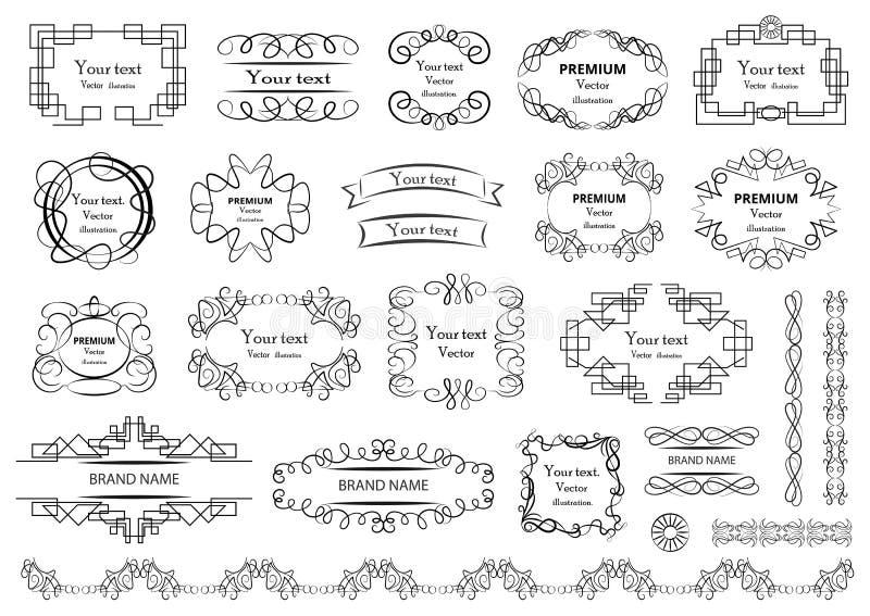 Elementos caligr?ficos del dise?o Los remolinos decorativos o las volutas, vintage enmarcan, los flourishes, las etiquetas y los  libre illustration