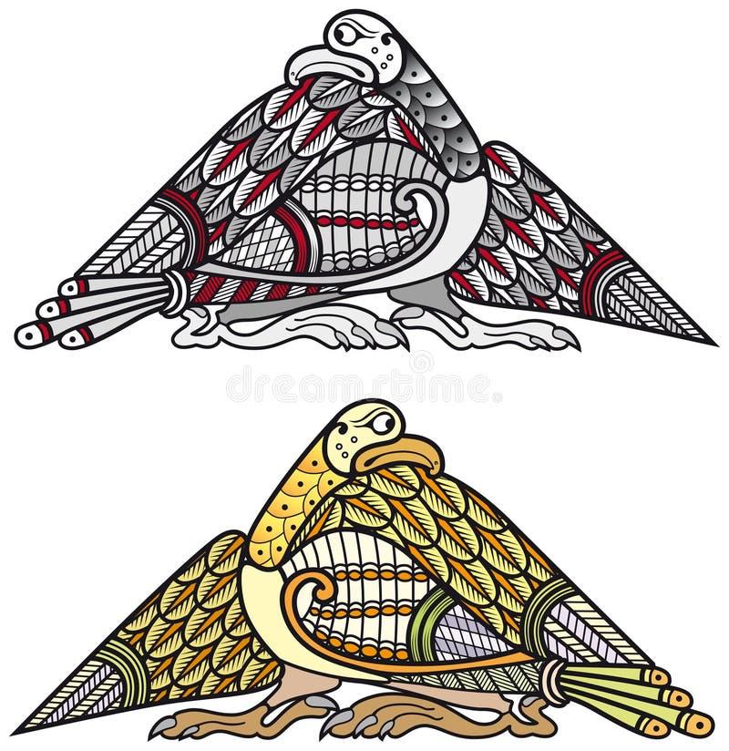 Elementos celtas do projeto dos pássaros ilustração royalty free