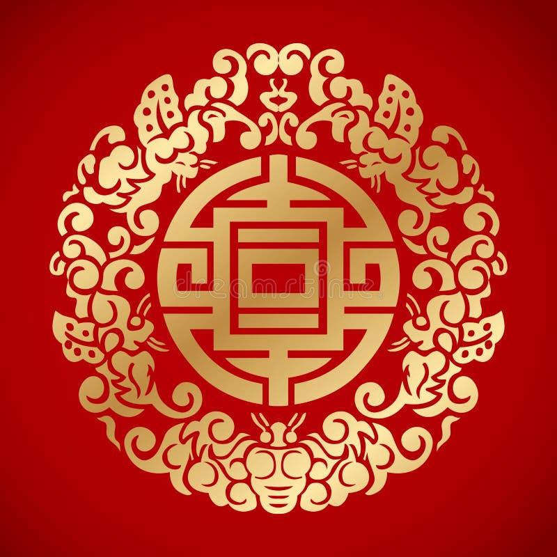 Elementos chineses do vintage no fundo vermelho clássico ilustração stock