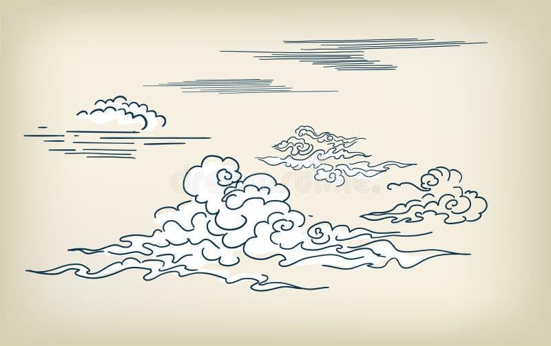Elementos chineses japoneses do projeto da ilustração do vetor do estilo das nuvens ilustração stock