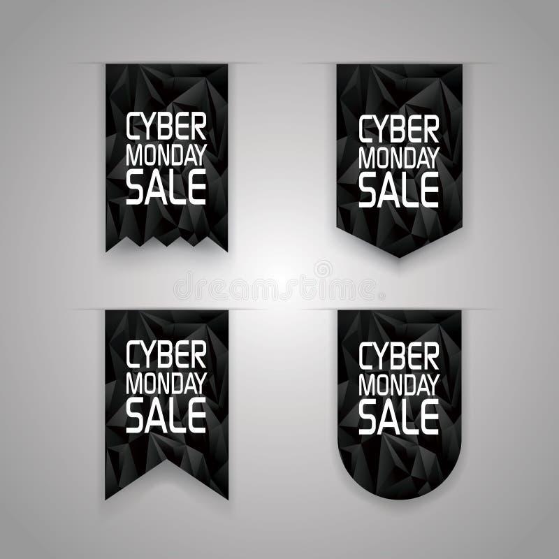 Elementos cibernéticos de la cinta de la venta de lunes Promoción de ventas ilustración del vector