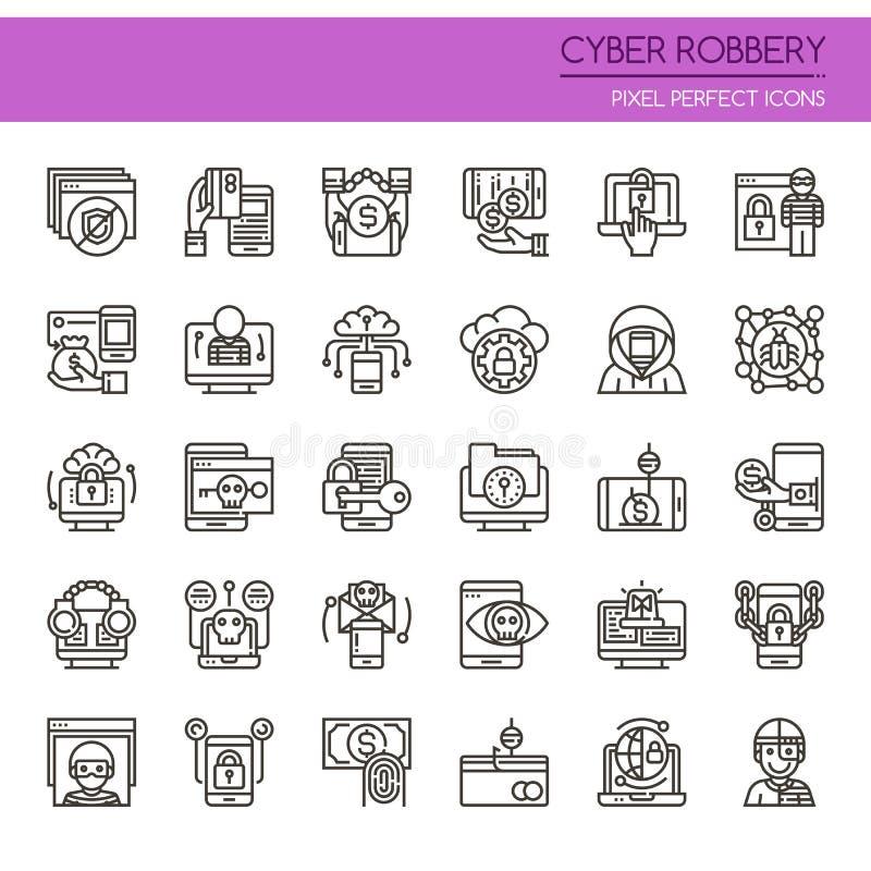 Elementos cibernéticos del robo ilustración del vector