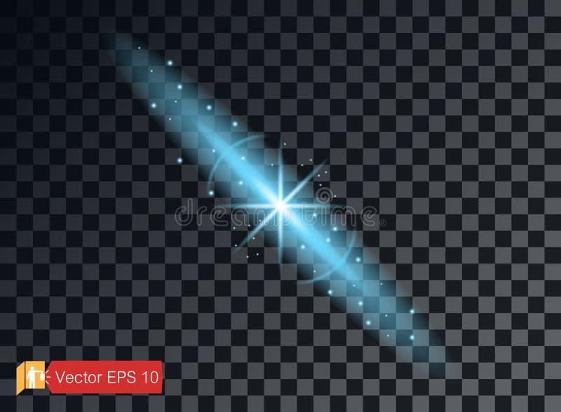 Elementos claros transparentes em um fundo isolado Reflexão brilhante, alargamento Estrela azul de brilho Effulgence de brilho Ve ilustração royalty free