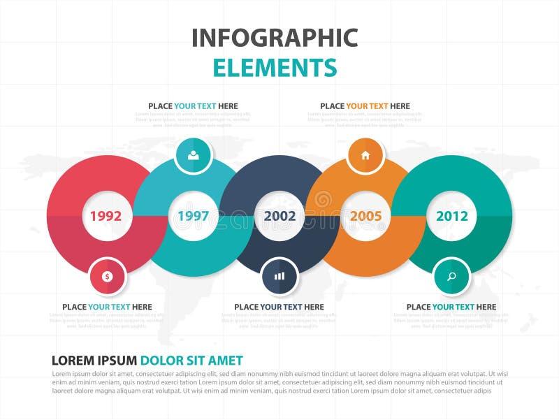 Elementos coloridos abstractos de Infographics de la cronología del negocio del círculo, ejemplo plano del vector del diseño de l ilustración del vector