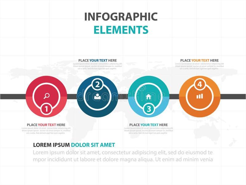 Elementos coloridos abstractos de Infographics de la cronología del negocio del círculo, ejemplo plano del vector del diseño de l libre illustration