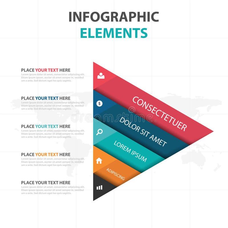 Elementos coloridos abstractos de Infographics de la cronología del negocio del triángulo, ejemplo plano del vector del diseño de ilustración del vector