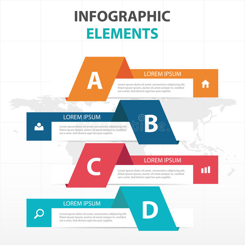 Elementos coloridos abstractos de Infographics del negocio de la bandera, ejemplo plano del vector del diseño de la plantilla de  libre illustration