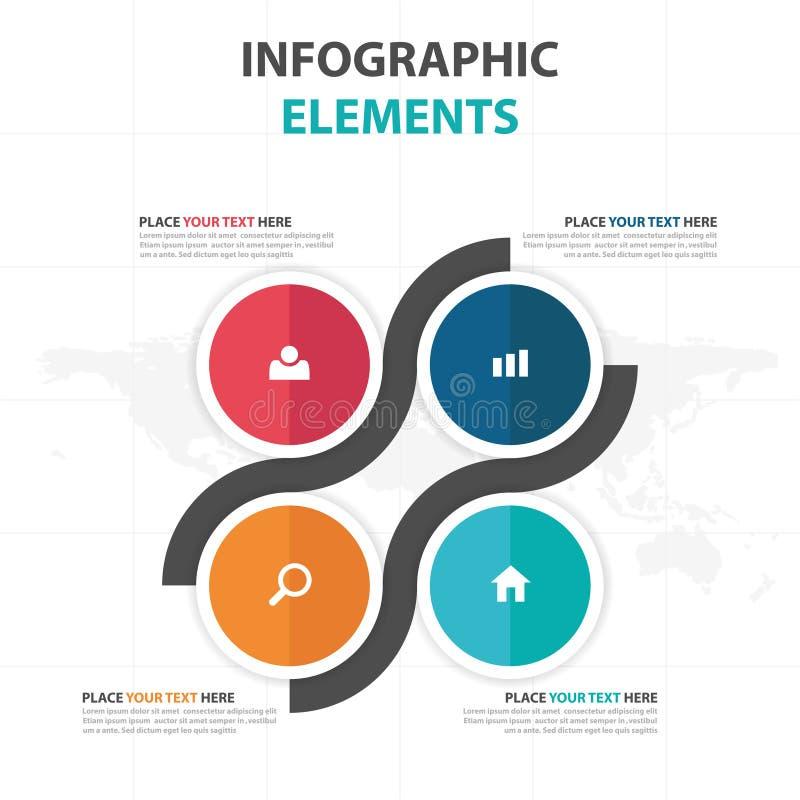 Elementos coloridos abstractos de Infographics del negocio del cuadrado del círculo, ejemplo plano del vector del diseño de la pl stock de ilustración