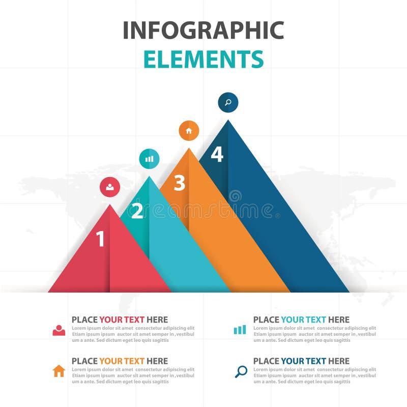 Elementos coloridos abstractos de Infographics del negocio del triángulo, ejemplo plano del vector del diseño de la plantilla de  ilustración del vector