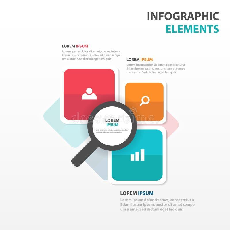 Elementos coloridos abstratos de Infographics do negócio da lente de aumento, ilustração lisa do vetor do projeto do molde da apr ilustração royalty free