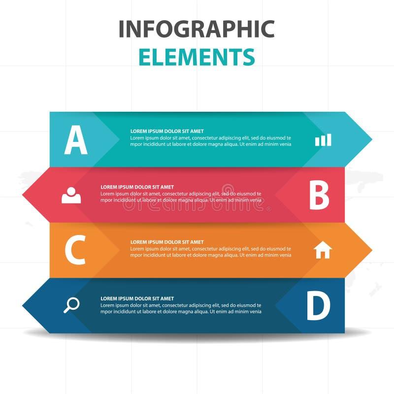 Elementos coloridos abstratos de Infographics do negócio do triângulo da etiqueta, ilustração lisa do vetor do projeto do molde d ilustração royalty free