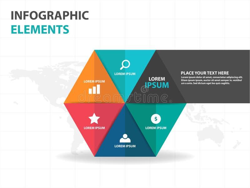 Elementos coloridos abstratos de Infographics do negócio do triângulo e do hexágono, ilustração lisa do vetor do projeto do molde ilustração royalty free