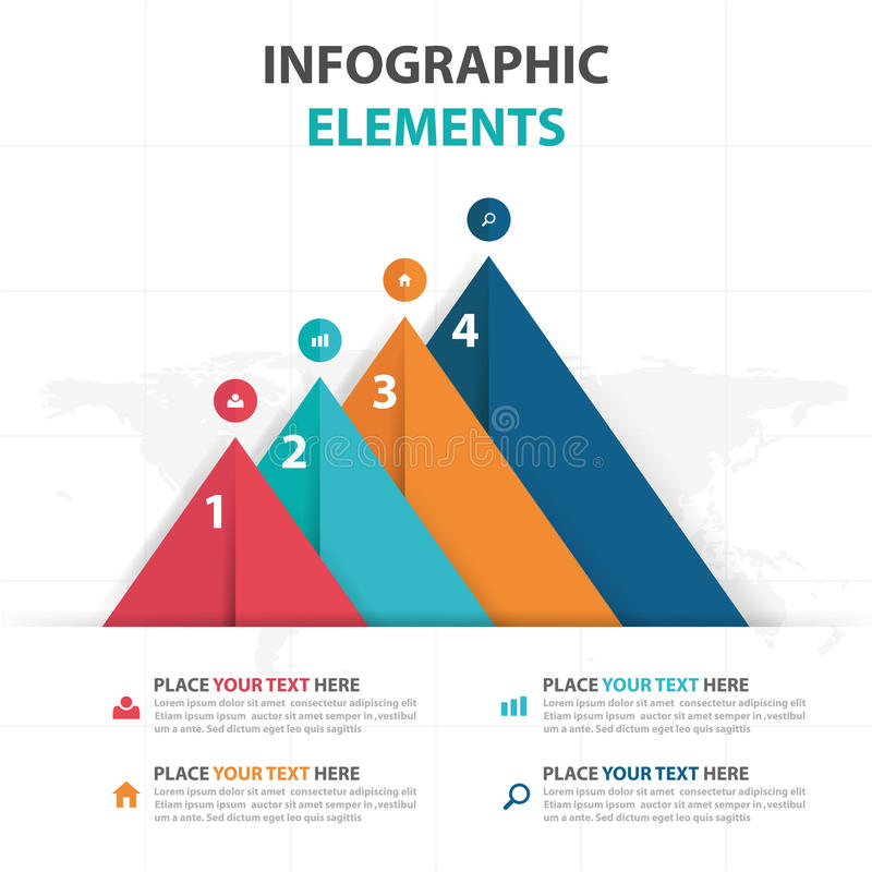 Elementos coloridos abstratos de Infographics do negócio do triângulo, ilustração lisa do vetor do projeto do molde da apresentaç ilustração do vetor