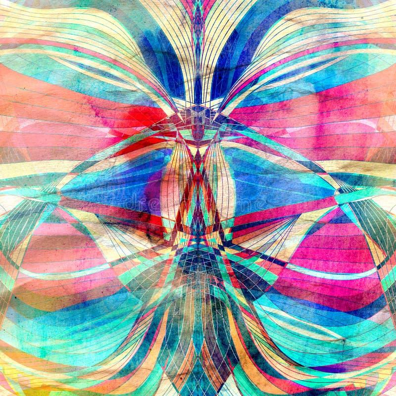 Elementos coloridos da onda da aquarela abstrata ilustração do vetor