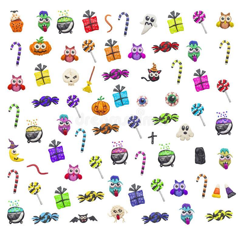 Elementos coloridos de Halloween fotografía de archivo