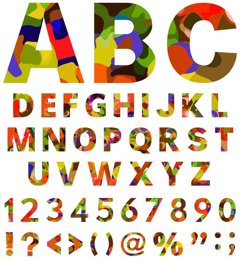 Elementos coloridos del alfabeto stock de ilustración