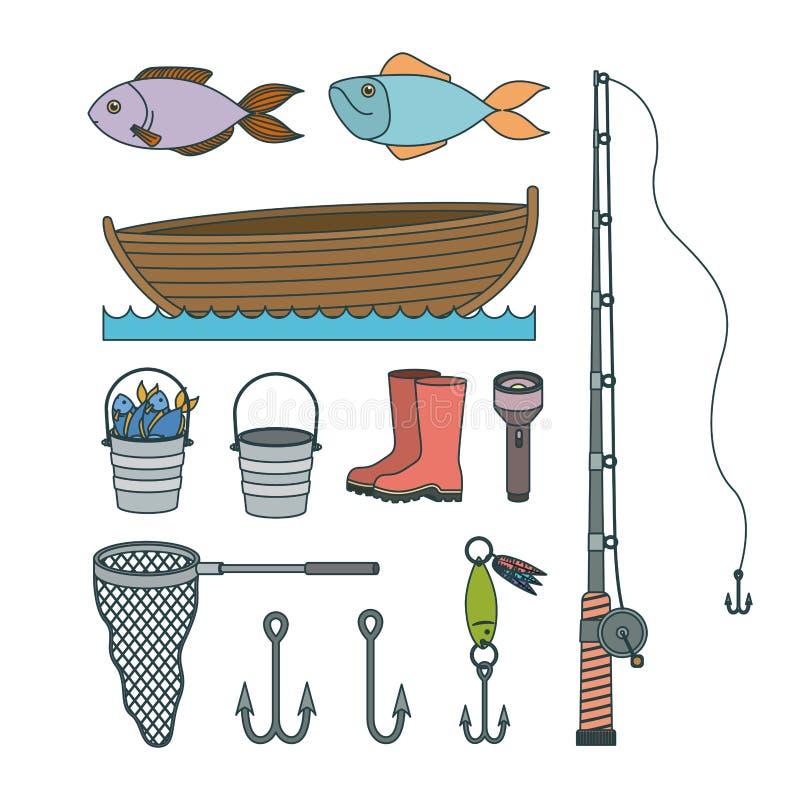 Elementos coloridos del bosquejo de la colección del sistema a la pesca stock de ilustración