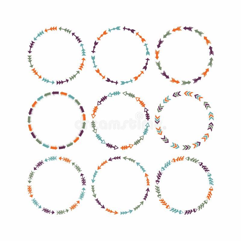 Elementos coloridos del diseño del círculo para los marcos y las banderas - sistema 1 stock de ilustración
