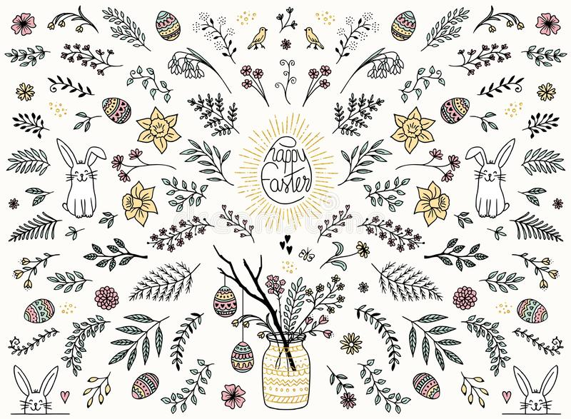Elementos coloridos del diseño floral para Pascua ilustración del vector