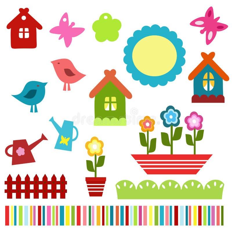 Elementos coloridos do scrapbook da criança ilustração royalty free