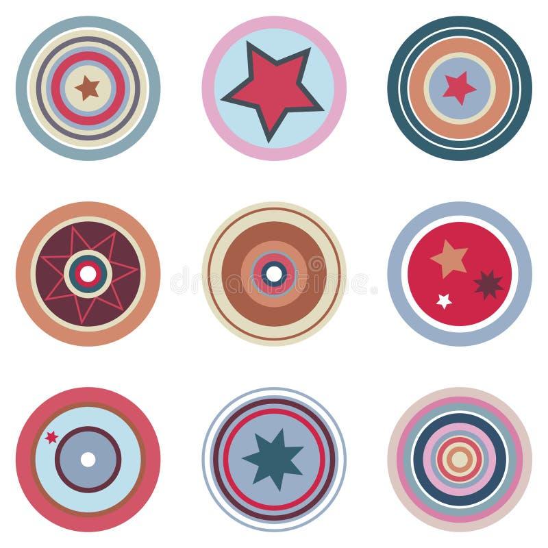 Elementos coloridos retros do vetor ilustração do vetor
