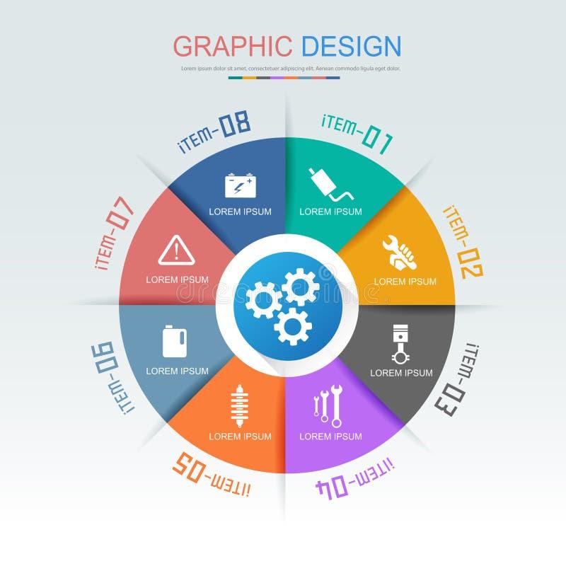 Elementos com ícone do serviço do carro no círculo do fundo da cor completa - infographics, etapas e opções de Infographic do cír ilustração do vetor