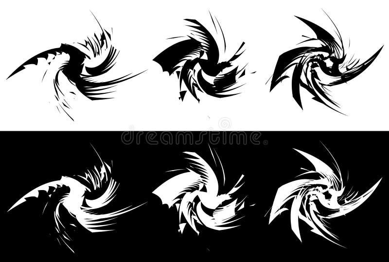 Elementos com distorção de giro, efeito espiral Geo abstrato ilustração do vetor