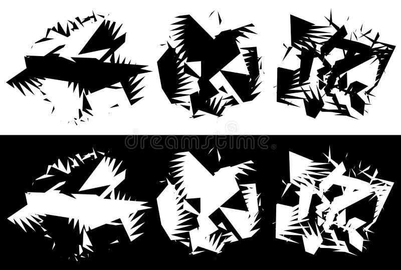 Elementos com distorção de giro, efeito espiral Geo abstrato ilustração stock