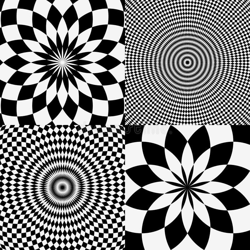 Elementos com o quadriculado mármore-como o teste padrão circular concêntrico ilustração do vetor