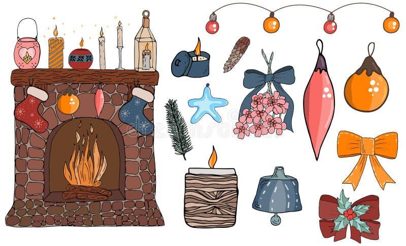 Elementos confortáveis da ilustração do vetor de Sety ilustração royalty free