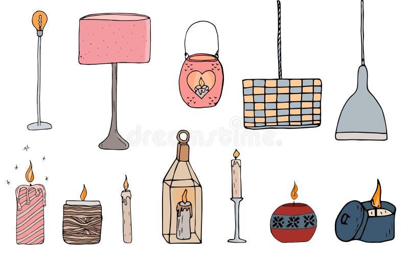Elementos confortáveis da ilustração do vetor de Sety ilustração do vetor