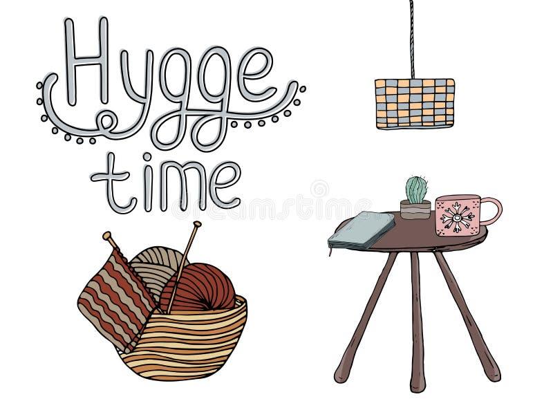 Elementos confortáveis do hygge da ilustração do vetor ilustração stock