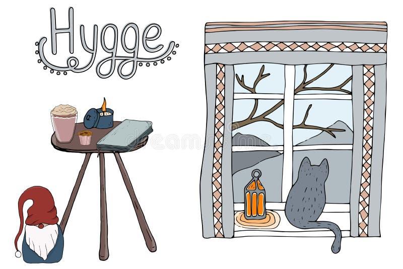 Elementos confortáveis do hygge da ilustração do vetor ilustração do vetor