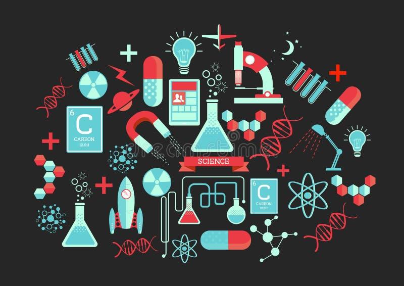 Elementos creativos de la ciencia stock de ilustración