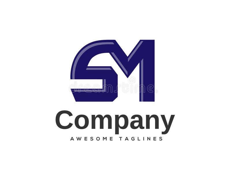 Elementos creativos de la plantilla del diseño del logotipo de la letra SM ilustración del vector
