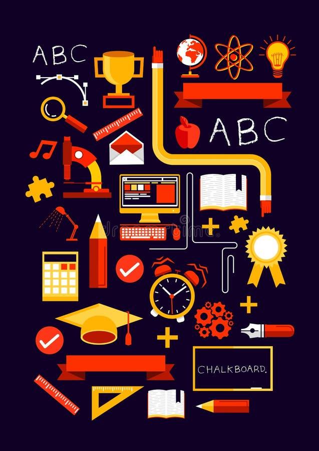Elementos criativos da educação ilustração stock