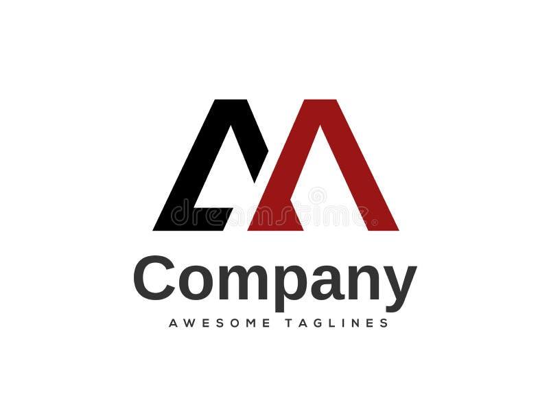 Elementos criativos do molde do projeto do logotipo do AM da letra ilustração royalty free