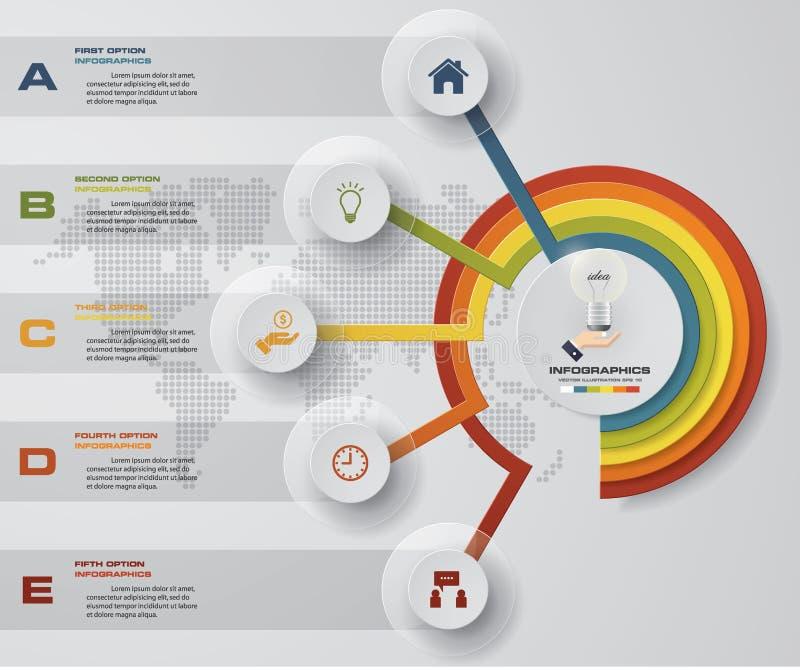 Elementos/cronología del infographics de los pasos del extracto 5 Ilustración del vector stock de ilustración